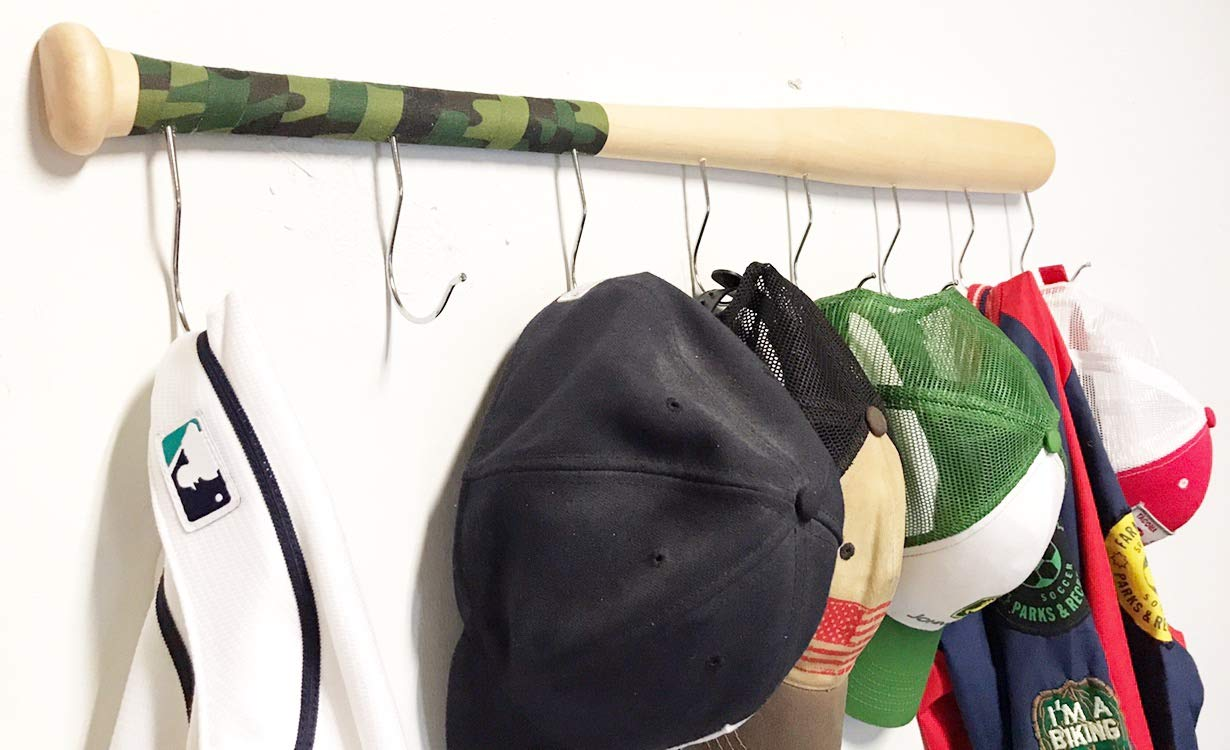 Useful /& Unique Gift Idea for Baseball Lovers or the Perfect Hallway Mudroom Organization System l Camouflage KT Bats Wall Mounted Hanging Hardwood Baseball Bat Hat Coat Jersey /& Cap Rack Display