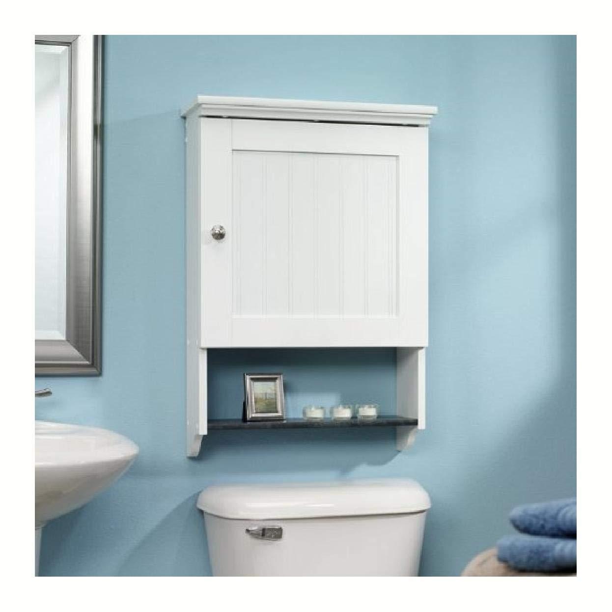 Bathroom Wall Cabin et in White Wood Fin ish with Bottom Storage Display Shelf, Bathroom Wall Cabinet in White Wood Finish with Bottom Storage Display Shelf by HomyDelight