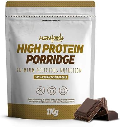HSN Gachas de Avena Proteicas Porridge Proteico | Fácil y Rápido de Preparar | con Proteína de Suero | Bajo en Azúcar | Apto para la Dieta Vegetariana | Sabor Chocolate, 1Kg: