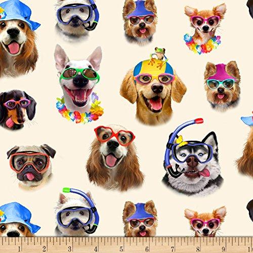 Elizabeth's Studio Beach Selfies Dogs Allover Cream Fabric by The Yard