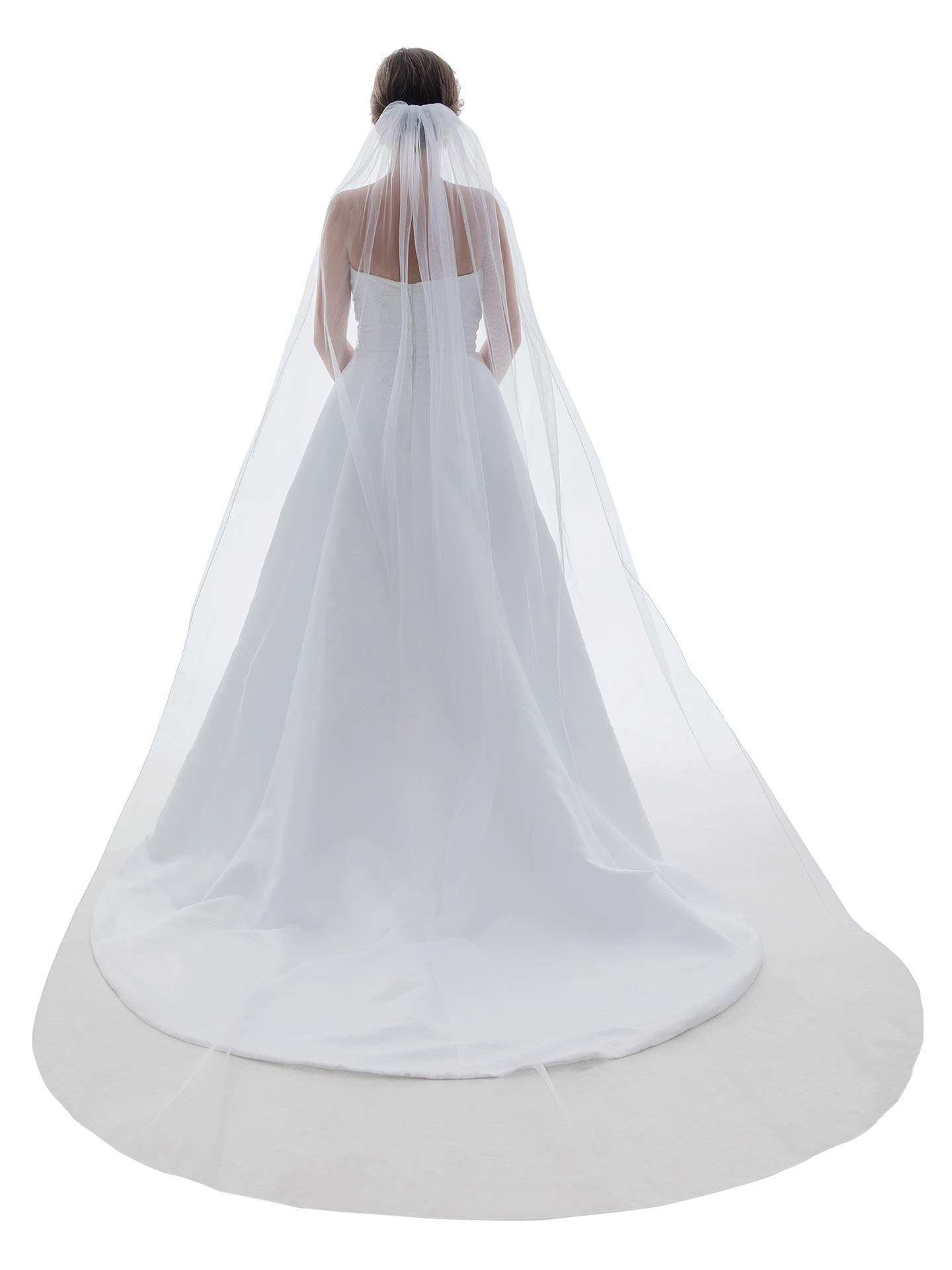 1T 1 Tier Pencil Edge Bridal Wedding Veil - Ivory Cathedral Length 108'' by SAMKY