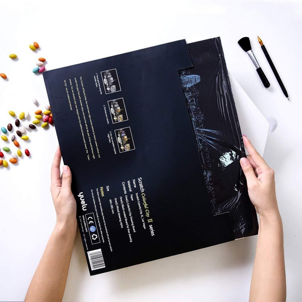 OPAKY Scratch Painting para Ni/ños Scratch Art Scratch Boards con Fondo Scratch Art 16.1x11.3in Papel de Pintura M/ágica para Rayar el Arte con Palillo de Dibujo para Ni/ños de Juguete