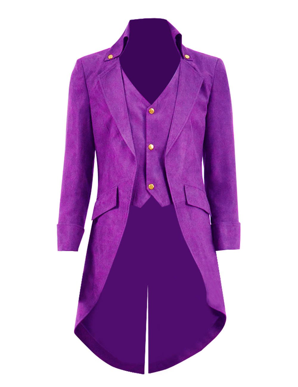Very Last Shop Mens Gothic Tailcoat Jacket Black Steampunk Victorian Long Coat Halloween Costume (US Men-S, Bright Purple(Faux-Suede)) by Very Last Shop