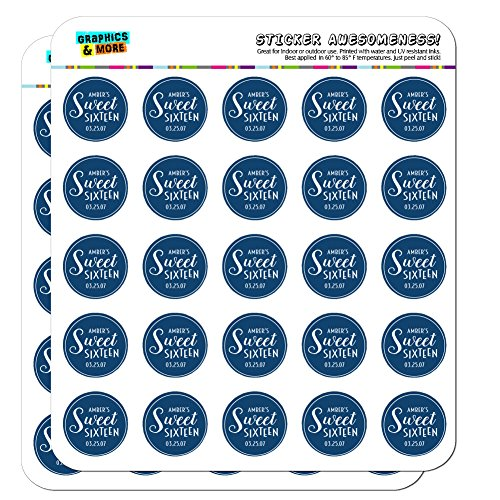 Graphics and More Personalized Custom Denim Blue Line Circle Name's Sweet Sixteen Date Birthday Planner Calendar Scrapbooking Crafting Stickers - 50 1