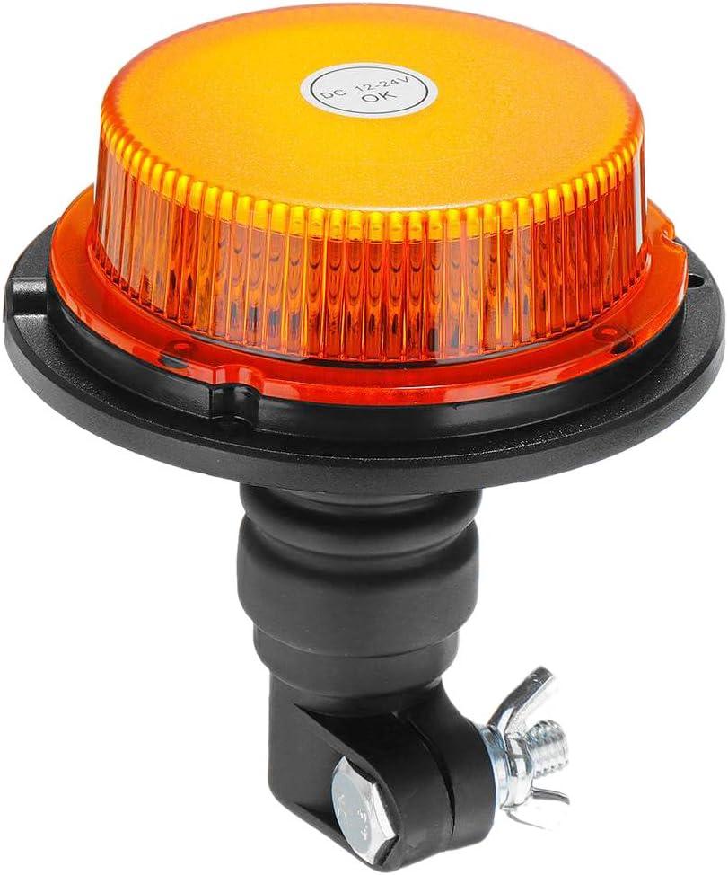 SovelyBoFan 12V-24V 18 LED Coche Luz Intermitente Giratoria de Baliza Luz de Advertencia Flexible LáMparas de Emergencia Tractor CamióN SUV Remolque de Barco