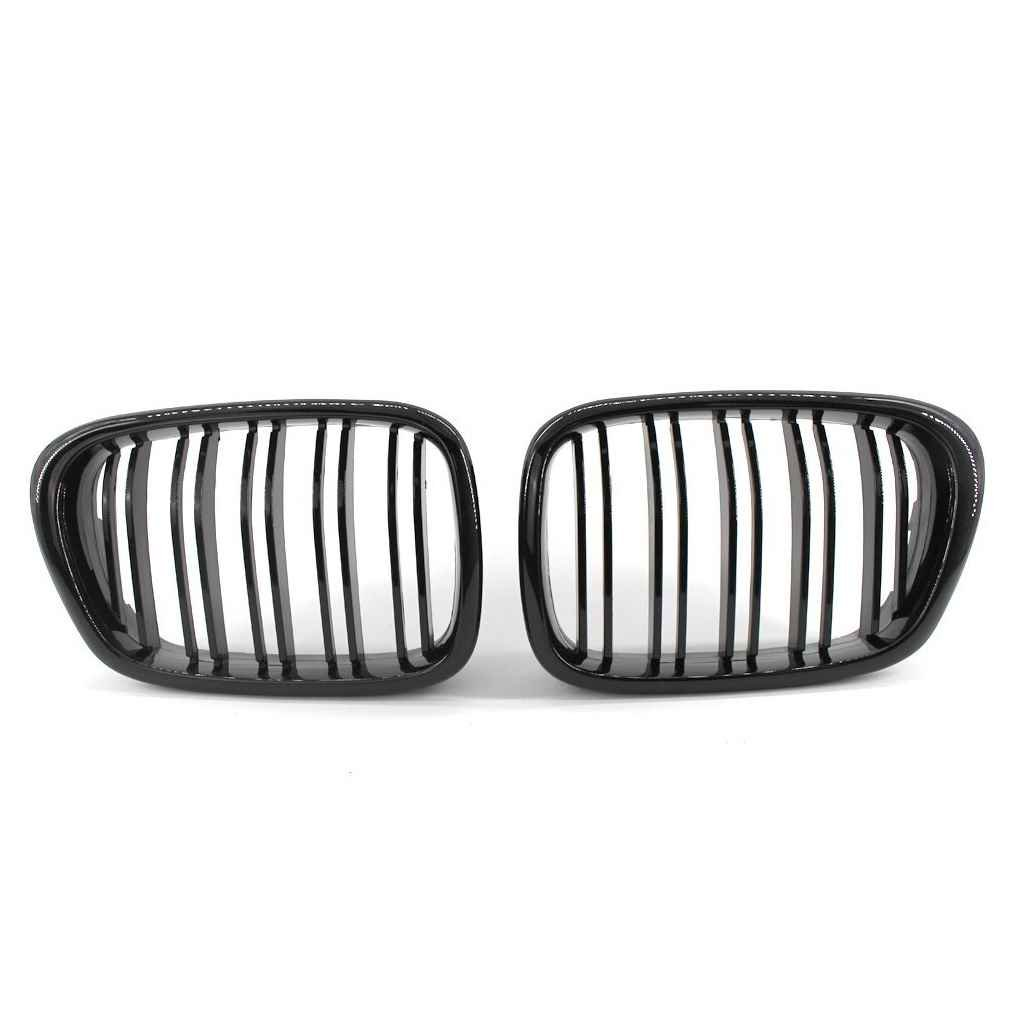 Gloryelens 1 Pair Front Grille for BMW 5 Series E39 518 520 523 525 528 530 1999-2003 Double Slat Line Gloss Black Front Kidney Grill