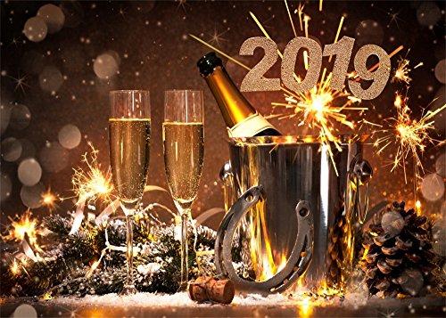 Leowefowa 7X5FT Winter 2019 Backdrop Lucky Horseshoe Backdrops for Photography Champagne Fireworks Bokeh Merry Christmas Vinyl Photo Background Xmas Dinner Celebration Studio Props
