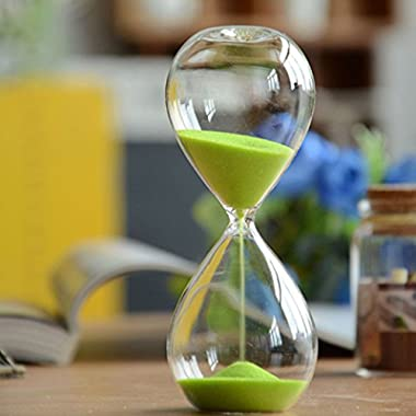 Large Fashion Colorful Sand Glass Sandglass Hourglass Timer Clear Smooth Glass Measures Home Desk Decor Xmas Birthday Gift (Green, 30 Minutes)