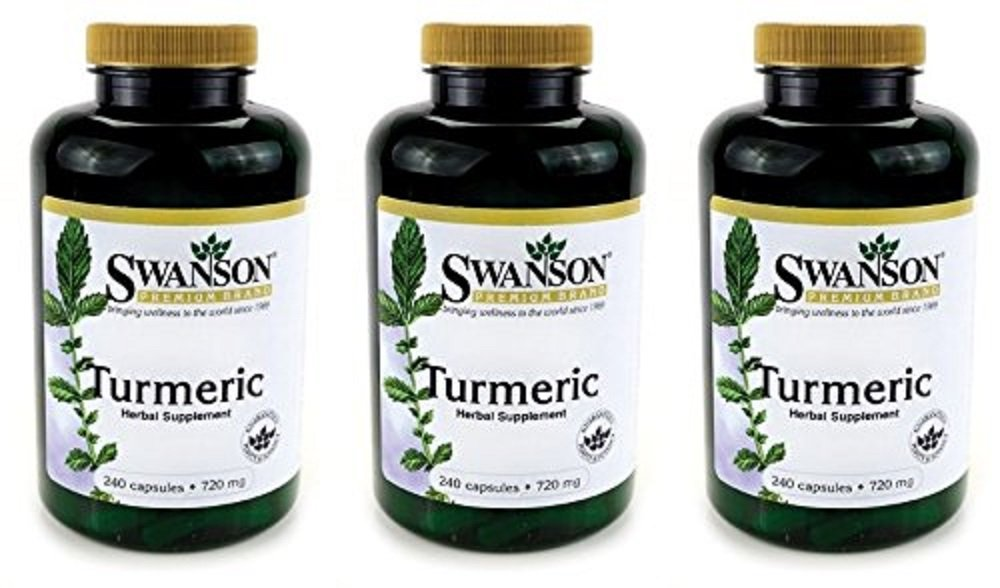 Swanson Premium Brand Turmeric Whole Root Powder 720 mg, 240 Capsules, 3 Count