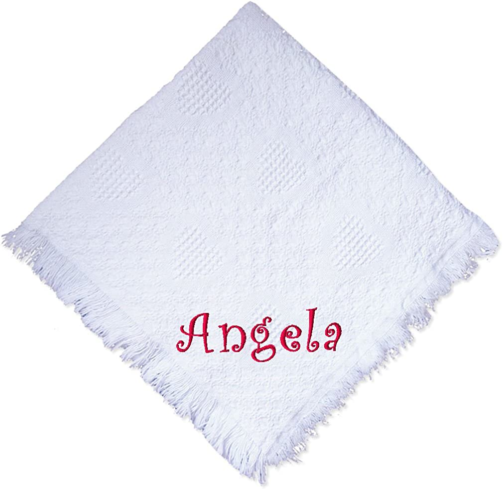 Personalised Baby Blanket Shawl Boy Girl Embroidered Grey Pink Blue Thread Gift