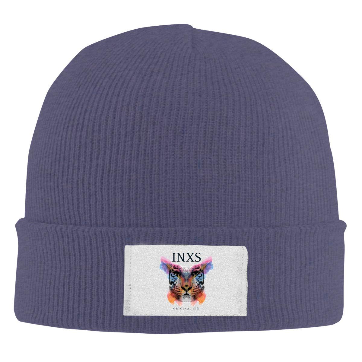 Stretchy Cuff Beanie Hat Black Skull Caps INXS Original Sin Winter Warm Knit Hats