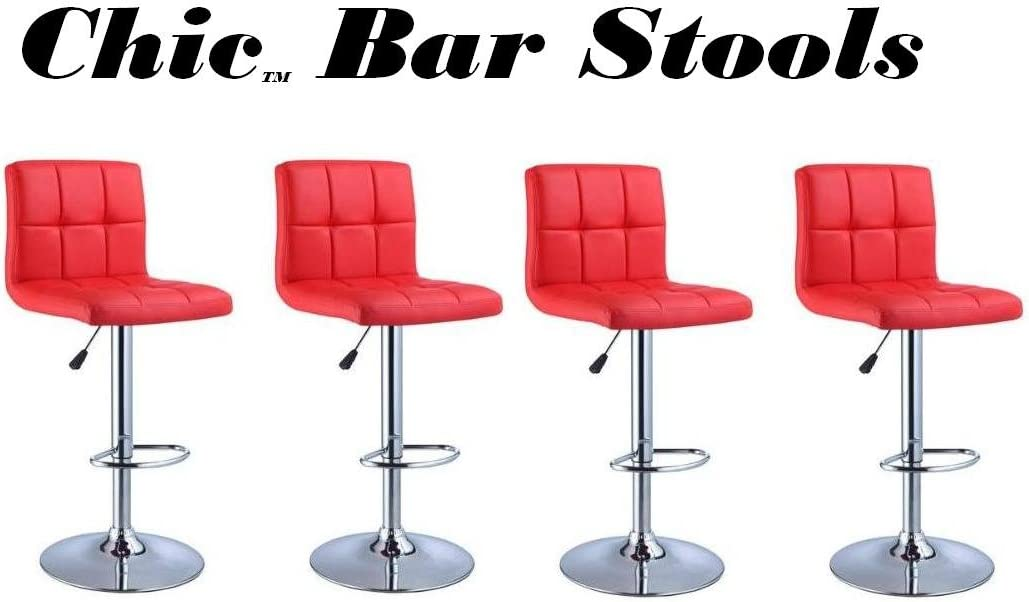 South Mission Chic Modern Adjustable Synthetic Leather Swivel Bar Stools – Set of 4 Red