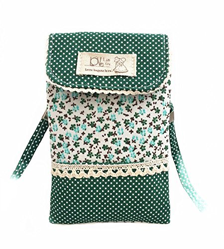 OSHOW Womens Floral Dotted Crossbody Bag Canvas Phone Pouch Coin Purse, ()