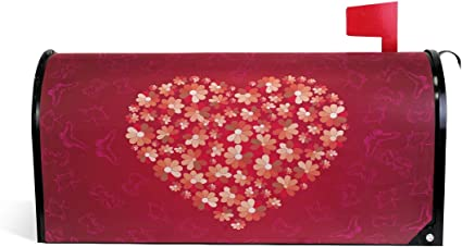 Mailbox Magnet Partial Cover Valentines Day Red or Pink Rose Flower Heart