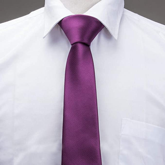 FDHFC Marrón Púrpura Corbata Sólida para Hombres Corbatas Delgadas ...