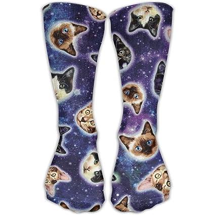 Daisylove - Calcetines Unisex Informales para Galaxia, Gatos, Cabeza de Gato en el Espacio