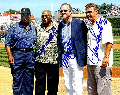 Ernie Banks, Ron Santo, Ryne Sandberg & Billy Williams Autographed Chicago Cubs 8x10 Photo - Authentic Signed Autograph