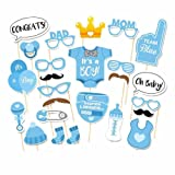 Rzctukltd 25PCS Photo Booth Props Baby Shower New Born Party Photography Kit (Blue)
