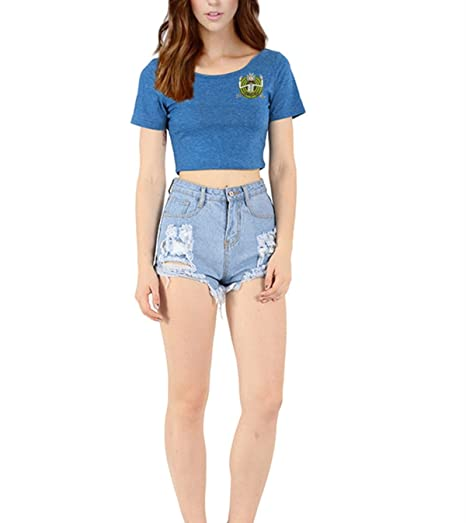 c5d7028ce14b1a Image Unavailable. Image not available for. Color  MOXHH Women s Short  Sleeve Wrap Slim Fit Crop Tops Rick and Morty ...
