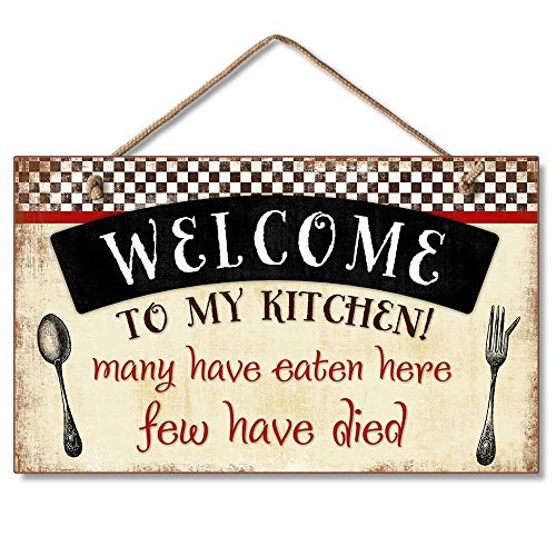 Highland Graphics Welcome to My Kitchen Decorative Wood Wall Plaque with Braided Rope for Hanging Red, Black, - Decorative Plaque Kitchen