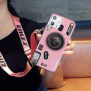 Awsaccy Compatible with iPhone 12 Mini Case for Girls Women 3D Cute Camera Case with Strap Lanyard Kickstand Holder Lightweight Soft TPU Shockproof Back Cover Pink