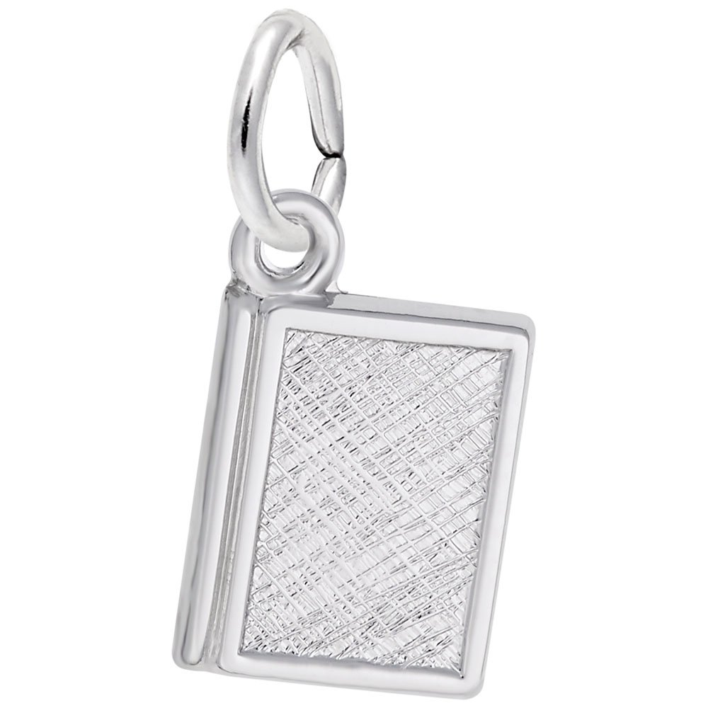 Book Charm In 14k White Gold, Charms for Bracelets and Necklaces