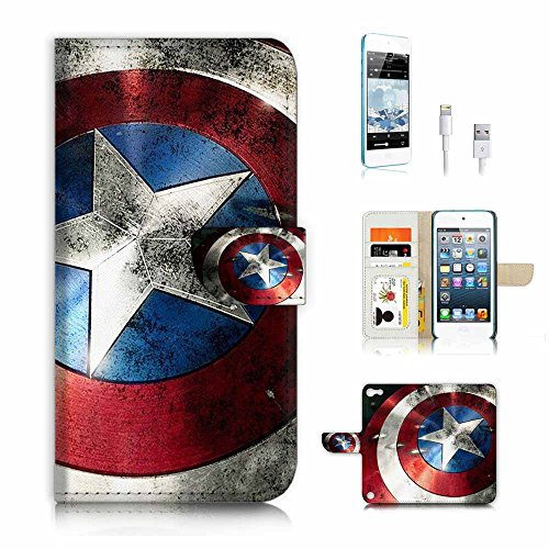 ( For ipod 5, itouch 5, touch 5 ) Flip Wallet Case Cover & Screen Protector & Charging Cable Bundle! A4035 Captain America