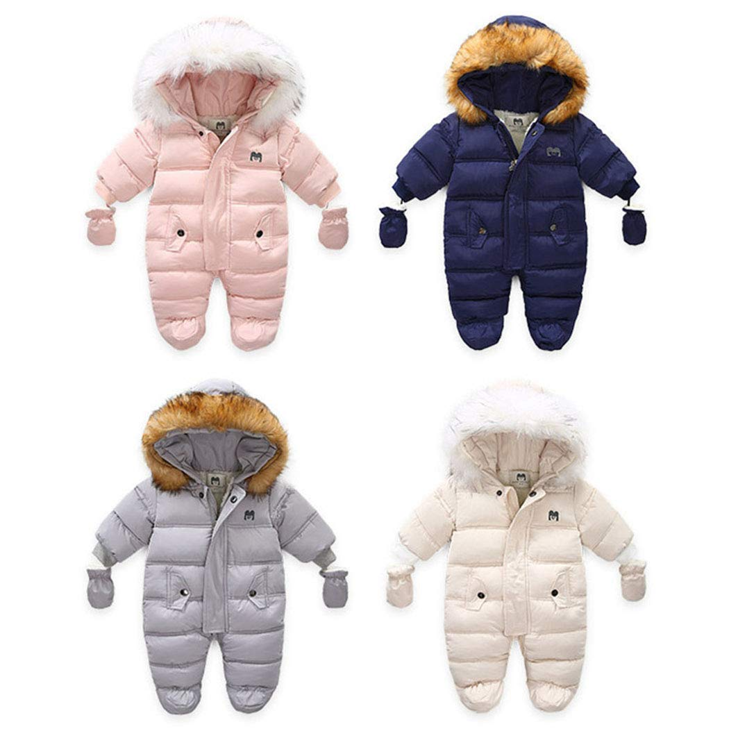 Toddler's Lovely Onesie Pajamas Down Coat Fleece Feather Hood Long Sleeve Fashion Chunky Snowsuit for 18-24 Months Kids in Winter,Spring,Automn Pink by Ohrwurm