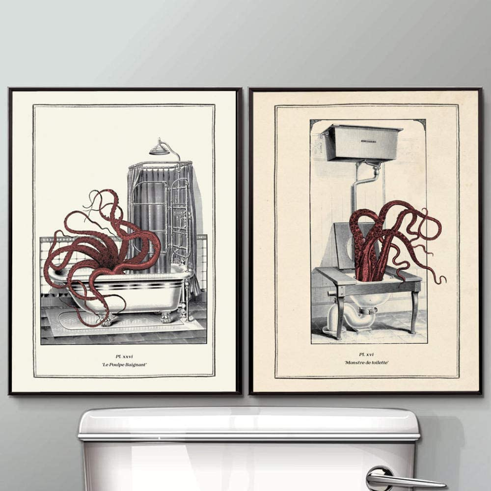 Amazon Com Vintage Octopus Print Funny Toilet Wall Art Cloakroom Poster Retro Gothic Steampunk Bathroom Wall Pictures Canvas Painting Decor40x60cmx2 No Framed Posters Prints
