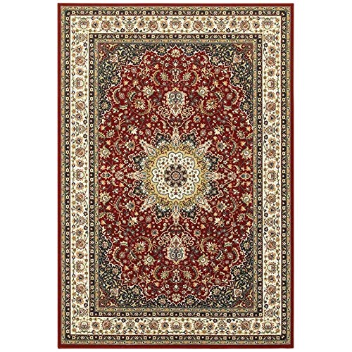 Oriental Weavers K119N1200290ST Kashan Area Rug, 6' x 9', Red/Ivory Classics Kashan Ivory Traditional Rug