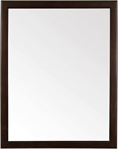 Maykke Chloe 30 H x 24 W Rectangular Brown Bathroom Vanity Mirror Wood Framed Wall Decor for Bedroom, Living Room 4 Colors Available Chocolate Birch Finish, YSA7824005