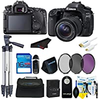 Canon EOS 80D DSLR Camera with 18-135mm Lens + 16GB Basic Accessory Bundle w/ Camera Bag + Tripod