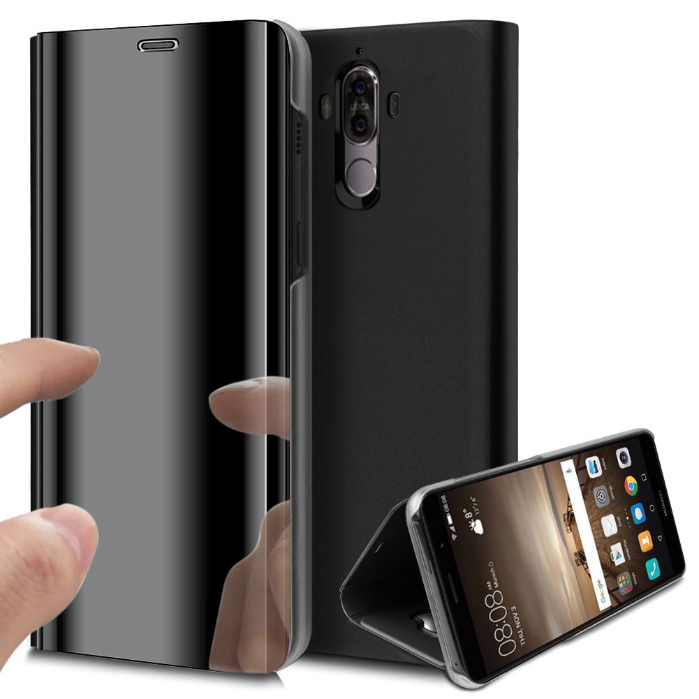 Huawei Mate 9 Case,Huawei Mate 9 Cover,ikasus Ultra-Slim Luxury Hybrid Shock-Absorption Plating Mirror Makeup Case Cover PU Leather Flip Stand Kickstand Protective Case Cover for Huawei Mate 9,Black