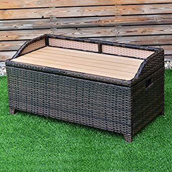 TANGKULA Wicker Deck Box 50 Gallon Patio Outdoor Pool Rattan Container Storage Box Bench Seat