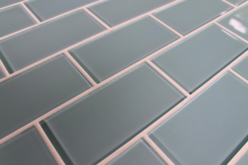 Sample Color Swatch of Jasper Blue/Gray 3x6 Glass Subway Tiles for Kitchen  Backsplash/Tub Surround from Rocky Point Tile - - Amazon.com