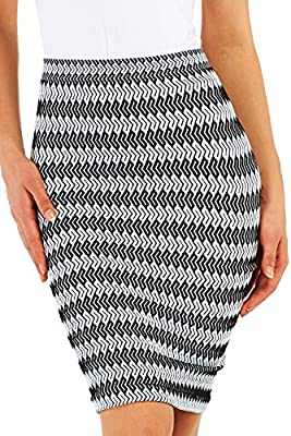 Belugue Women's Below the Knee Stretchy Bodycon Pencil Skirt for Office Wear