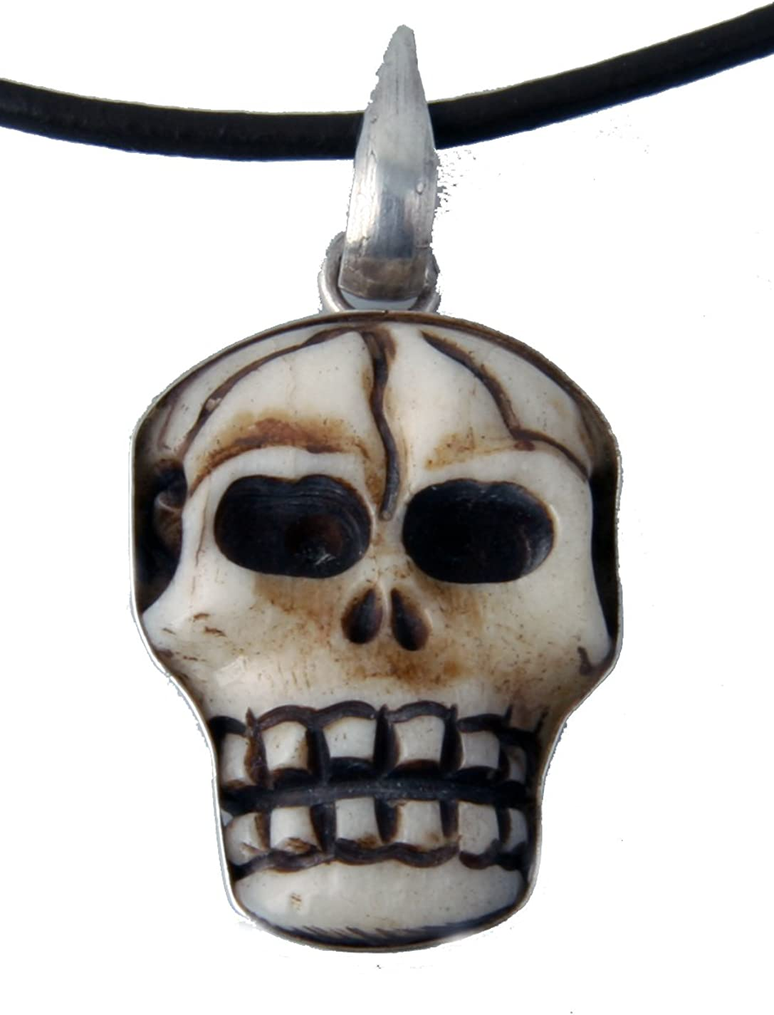 Jewelryvolt Carved Bone Skull With Adjustable Rubber Necklace 16 To 18 Amazon Com