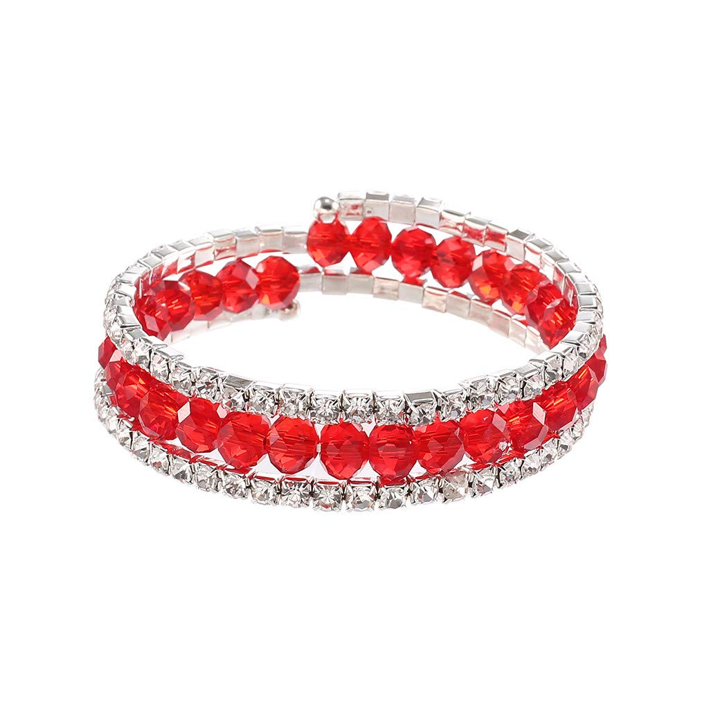 Qvwanle Women's Fashion Simple New Multi-Color Crystal Diamond Ladies Bracelet Jewelry (red, NA)