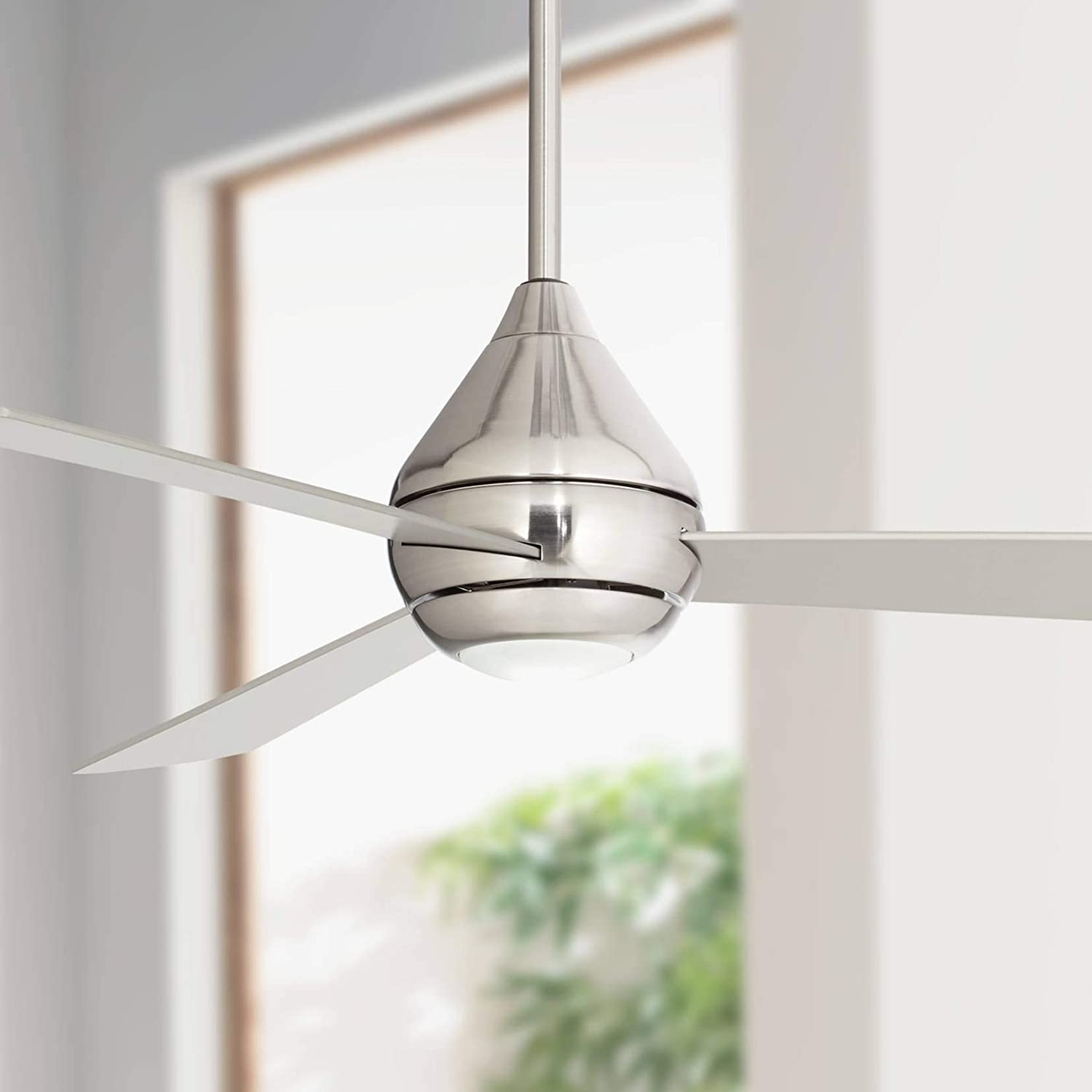 52 Casa Argonaut II Modern Ceiling Fan with Light LED Remote Brushed Nickel for Living Room Kitchen Bedroom Family Dining – Casa Vieja