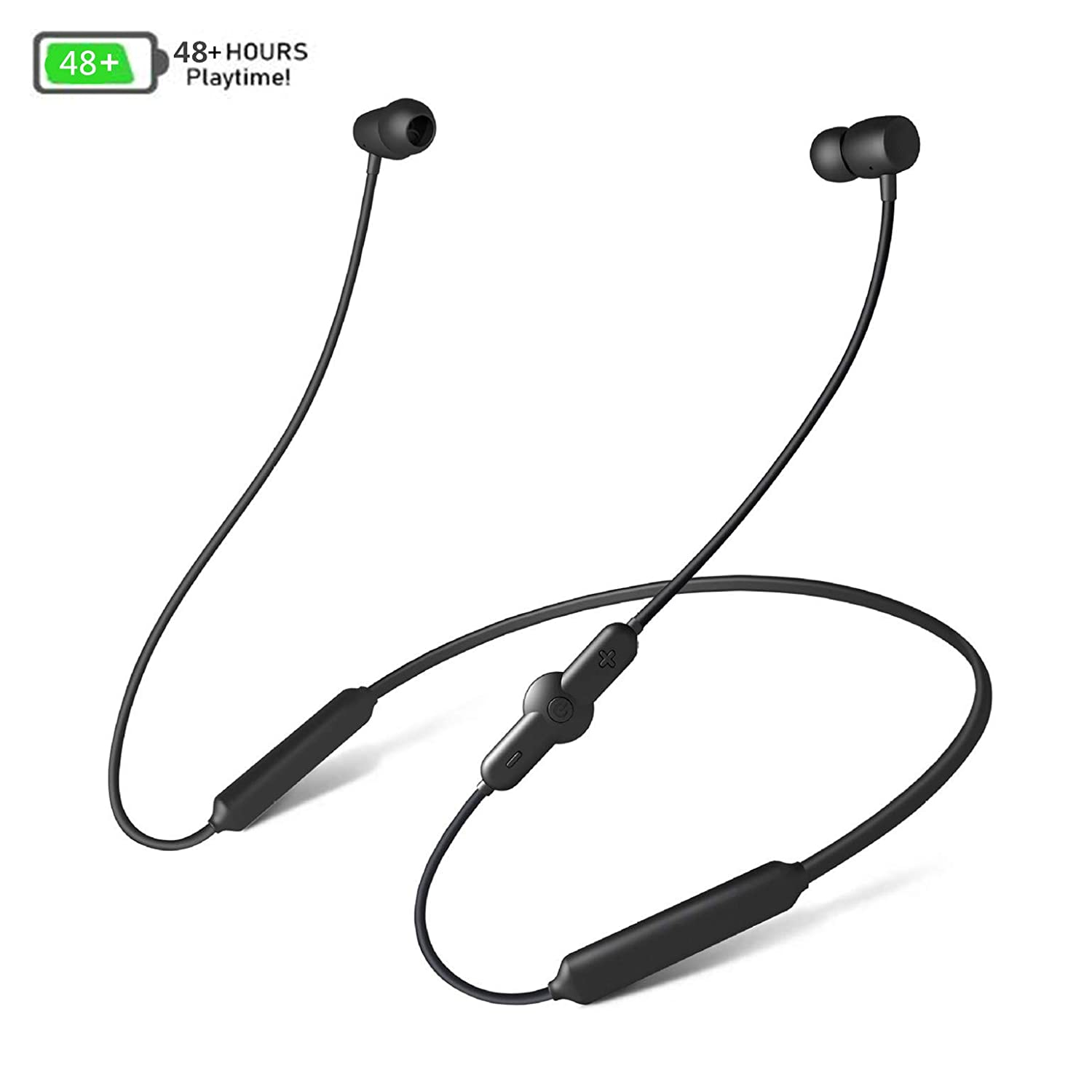 Bluetooth Headphones, AMTERBEST Magnetic Earbuds Wireless Sports V4.2 Earphones with Mic, IPX5 Waterproof, HD HiFi Stereo Sound with Bass, Noise Cancelling headsets, up to 48 Hours Working time