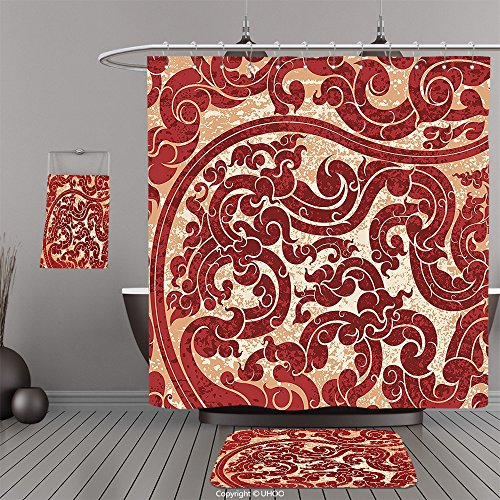 Mini Overhead Door (Uhoo Bathroom Suits & Shower Curtains Floor Mats And Bath TowelsAntique Decor Thai Culture Vector Abstract Background Flower Pattern Wallpaper Design Print BurgundyFor Bathroom)