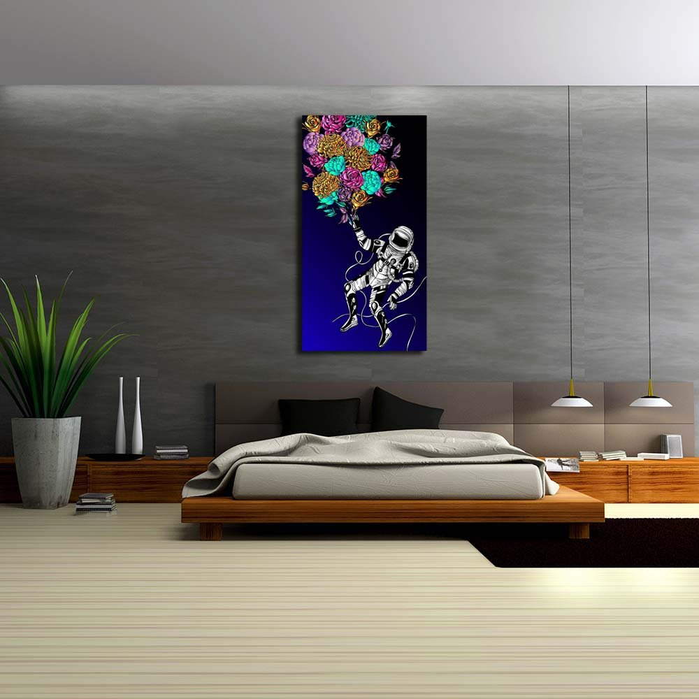 Pitaara 18 Box Space Concept with Astronaut Unframed Canvas Painting 18 Pitaara x 34inch 4c7944