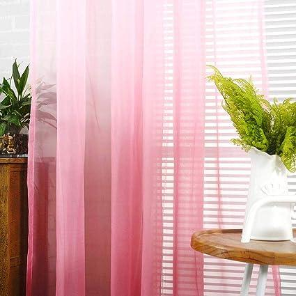 Degradado Gris Wifehelper Tulle Curtain Panel Gradient Sheer Rod-Pocket Cortina de Ventana para el Dormitorio Balc/ón Cortina de Cortina