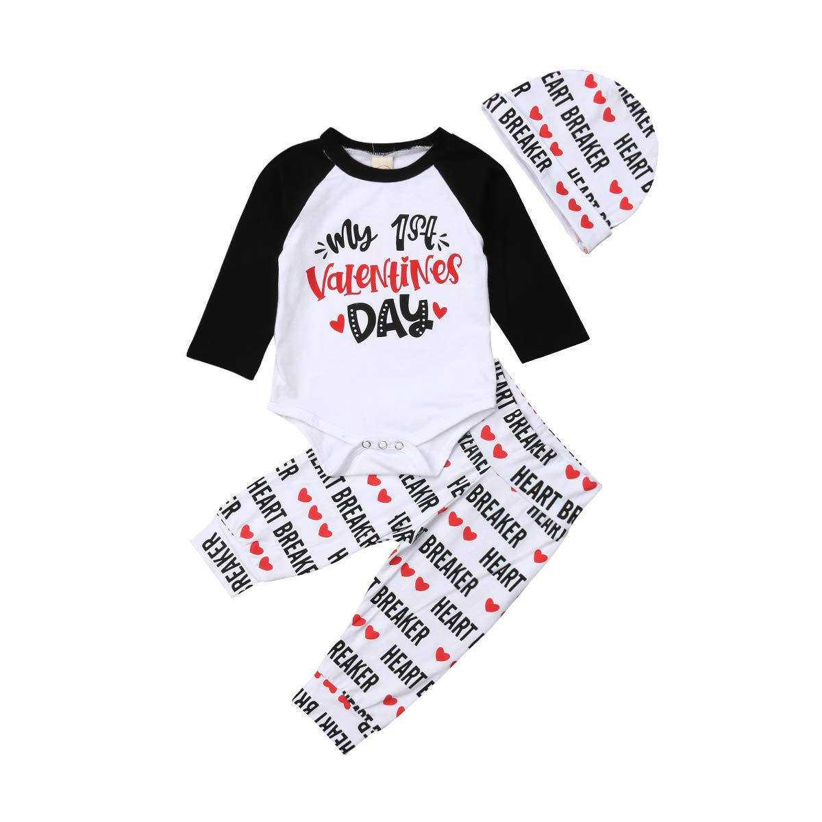 f341fa2ea6716 Newborn Baby Girl Boys My 1st Valentines Day Raglan Letter Romper Pant with  Hat  Amazon.ca  Clothing   Accessories