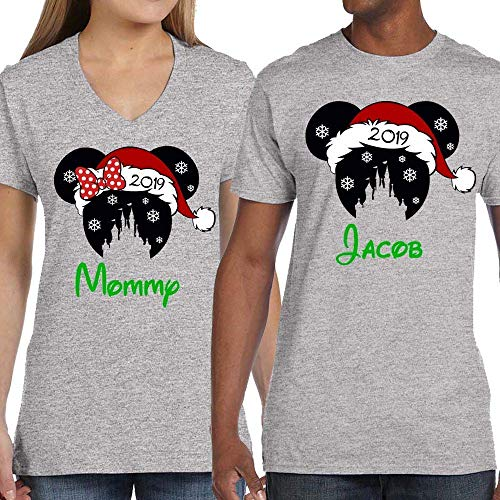 Disney Very Merry Christmas Party Mickey Minnie Snowflake Santa Hat Group Family Vacation Shirts Unisex Kids Baby Adult ()