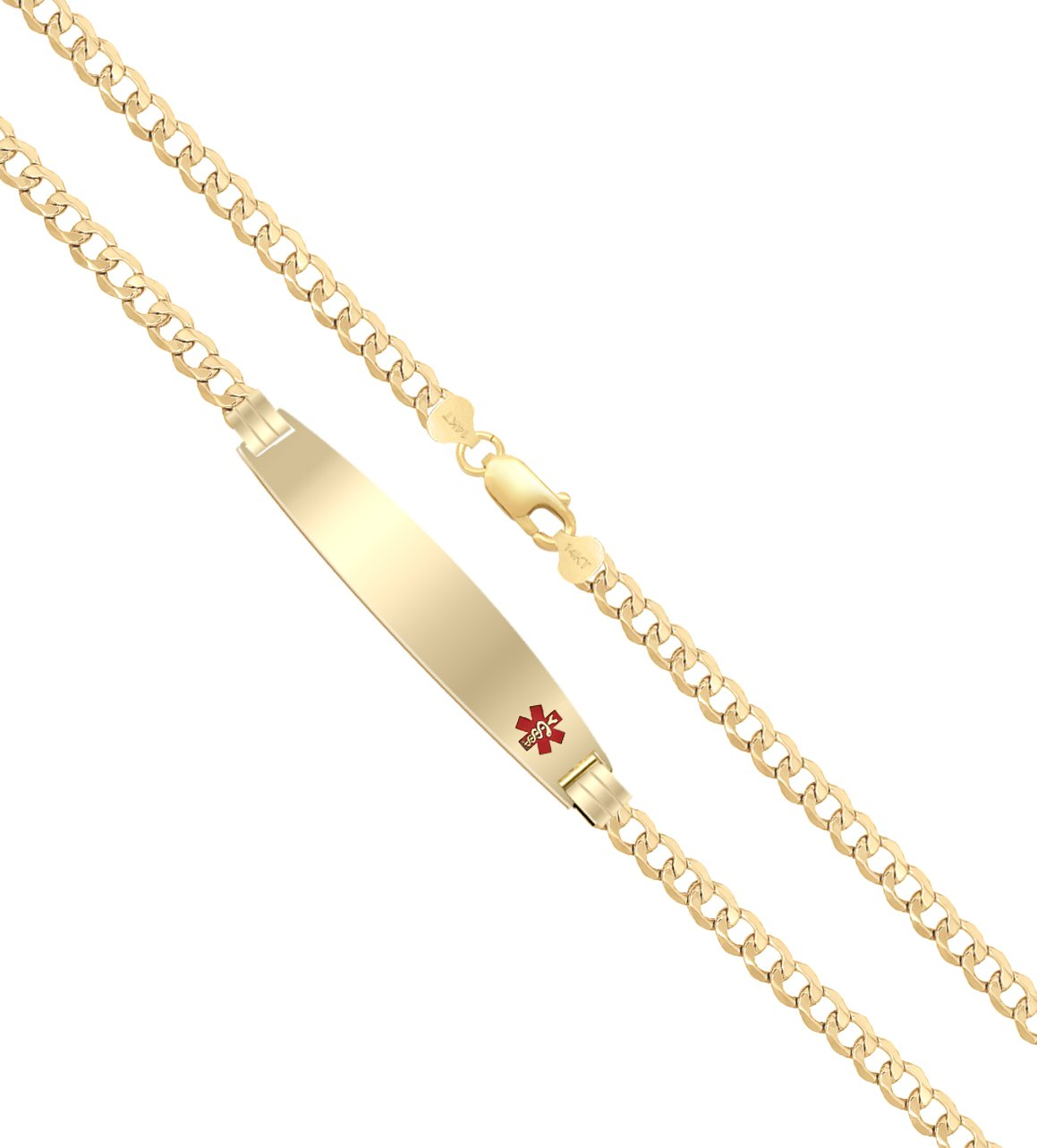 US Jewels And Gems Customizable Ladies 14k Yellow Gold 4mm Curb Medical Alert ID Bracelet with Free Engraving, 6.5in