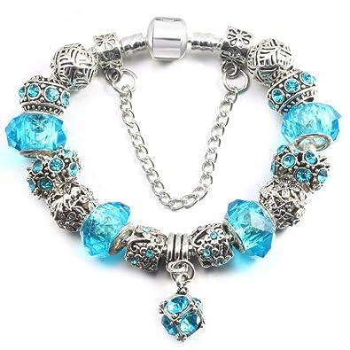 c294d154147d GSYDSZ Pulseras de la Marca de los Granos cristalinos para Las Mujeres  Pulseras y brazaletes del Encanto de la Plata del corazón de DIY Regalo del  día de ...