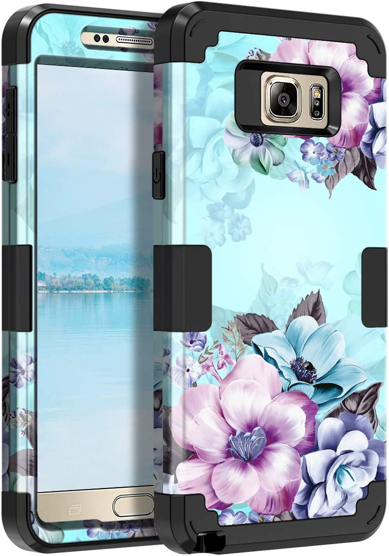 Casetego Compatible Galaxy Note 5 Case,Floral Three Layer Heavy Duty Hybrid Sturdy Armor Shockproof Full Body Protective Cover Case for Samsung Galaxy Note 5,Blue Flower