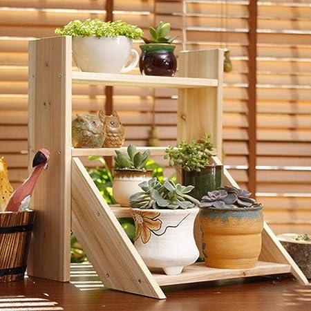 HoneybeeLY Soporte de Madera para macetas de 4 Niveles, diseño de Escalera de Madera Maciza: Amazon.es: Hogar