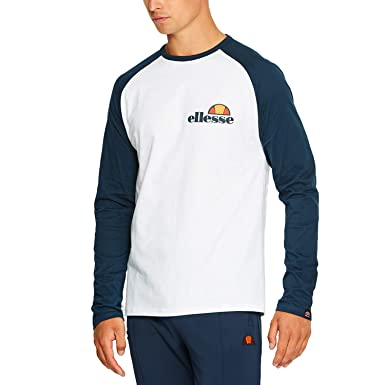 81e997d489 Amazon.com: ellesse Mens Thero T-Shirt in White and Burgundy: Clothing